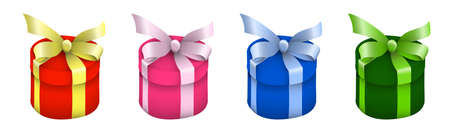 round gift holiday boxes with multicolored silk bows on top. Gifts and surprises for the new year 2021 and birthday. Easily editable color. Vector