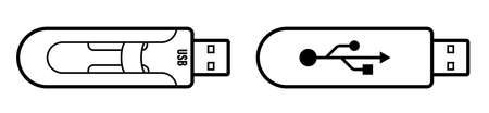 USB flash drive, USB memory card. Media connection standard. Storage of information on removable media. Vector