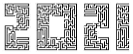 New Year 2021, numbers written in font made from maze lines. Abstract figures of new year. Design element. Vector