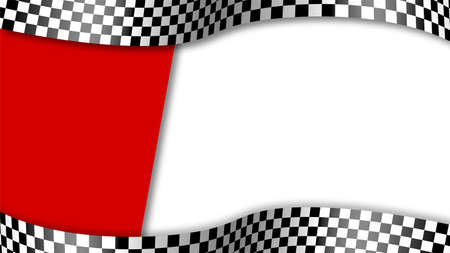 Finish black and white checkered flag waving in wind on white red background. Auto and motorcycle races, sports competitions, victory and defeat in sports. Vector