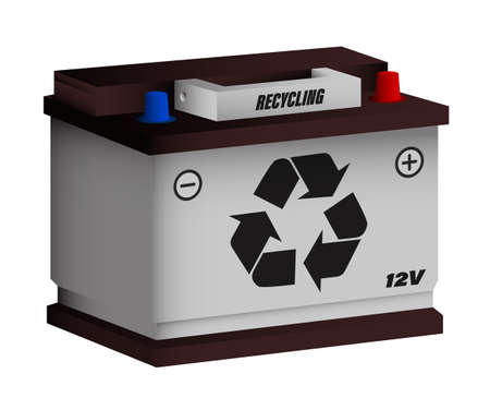 car battery with recycling sign. Recycling of car batteries, green energy, alternative energy sources. Caring for ecology and the environment. Vector