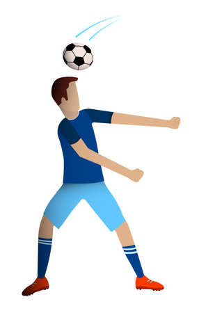 footballer, man is playing soccer. Ball unexpectedly hit the player in head. Injury during the competition. Team sports. Isolated vector in flat style