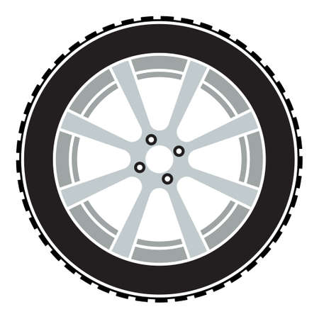 wheel with tire and winter rubber tread. Winter tires for car. Driving on slippery road. Driving safety. Vector in flat style Vettoriali