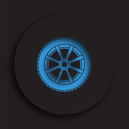 wheel with tire and winter rubber tread in neomorphism style on dark background. Winter tires for car. Driving on slippery road. Driving safety. Vector Stock Illustratie