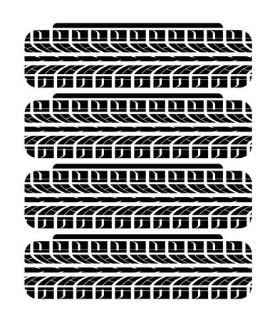 Car wheels in stack. Change of tires before the start of season. Car wheel imprint ornament. Vector