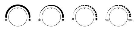 Climate control regulator icons with sign of cold, snowflakes and heat, sun. User interface. Electronic thermostat control. Vector