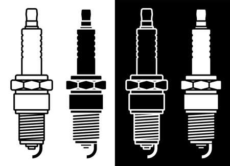 automotive spark plug. Icon in flat and linear style. Replacement of car parts in a service center. Vector