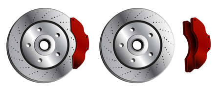 car brake disc with red brake pads. Brake pads, car parts. Maintenance in workshop. Vector in realistic style