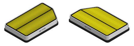 Isometric. Set of air filters for car interior. Air conditioning in car. Maintenance in service workshop. 3D Vector