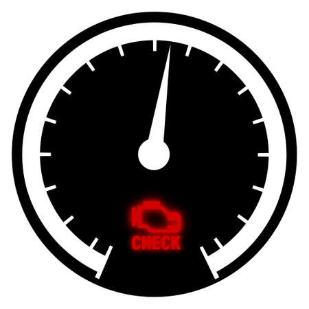 check engine glowing icon on car speedometer. Malfunction, engine breakdown. Vehicle malfunction warning. Service in service center. Vector