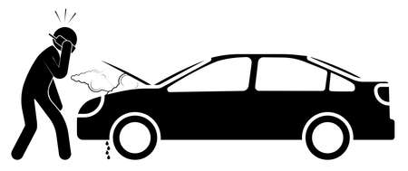 Car and property insurance. Breakdown, accident on road. Stick man calls a tow truck by phone. Safe driving. Vector