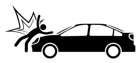 car hit a stick man pedestrian at crosswalk. Impact, car accident damage. Life and health insurance. Safe driving. Vector