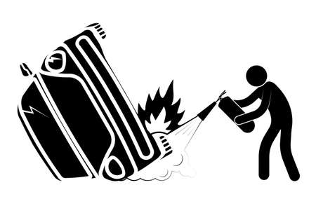 car accident, crash. Collision of cars on road, side impact at an intersection. Stick man extinguishes with fire extinguisher. Accidents on road. Life and health insurance. Safe driving. Vector