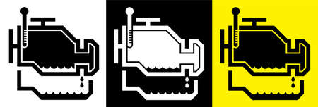 Internal combustion engine with engine oil pan and dipstick. Car oil change. Service in service center. Set of vector icons