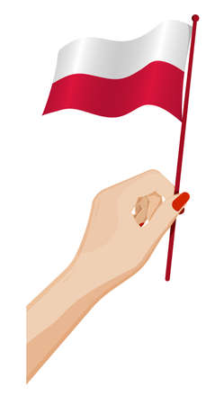 Female hand gently holds small flag of Poland. Holiday design element. Cartoon vector on white background