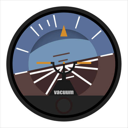 Airplane and helicopter positioner, attitude indicator in a flat style. Vector illustration on a white background