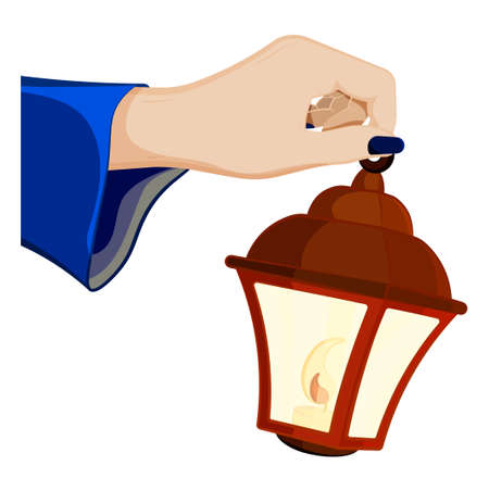 female hand of sorceress holds a lantern with burning candles inside. Celebration of Halloween in fancy dress. Magic and witchcraft, rituals. Cartoon vector