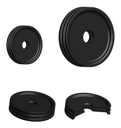 car belt tension rollers, 3D sectional illustration, spare parts on a transparent background