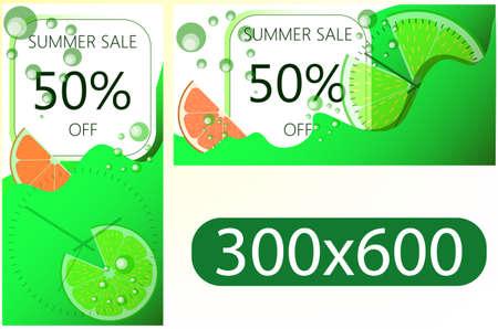 在网站的设计模板垂直和水平的夏天销售横幅。剖面刷新多汁橙色,纸浆和碳酸饮料泡泡