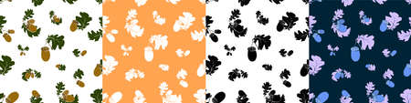 Set of seamless patterns with oak autumn leaves and acorns. Oak Grove. Color vector in minimal style for textiles Illustration