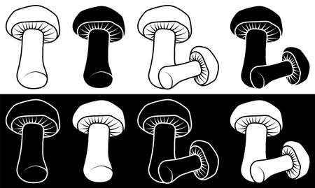 set of edible mushrooms. Mushroom soup. Vegetarian restaurant menu. Minimalistic black and white vector
