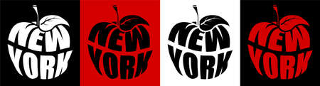 New York is big apple, metropolis of America. Name NY in shape of apple. Sticker for web design. Vector