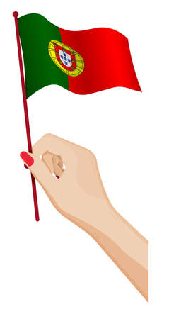 Female hand gently holds small Portugal flag. Holiday design element. Cartoon vector on white background 免版税图像 - 156591018