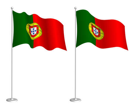 Portugal flag on flagpole waving in the wind. Holiday design element. Checkpoint for map symbols. Isolated vector on white background 矢量图像