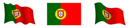 Portugal flag in static position and in motion, developing in wind in exact colors and sizes, on white background