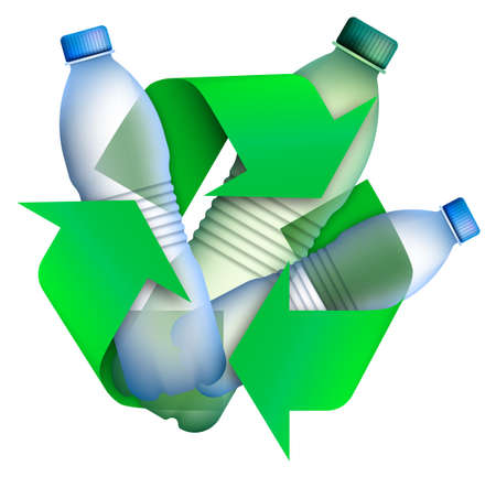 Plastic bottles in arrow signs for recycling waste, used raw materials. Caring for environment. Green modern technologies. Isolated vector on white background