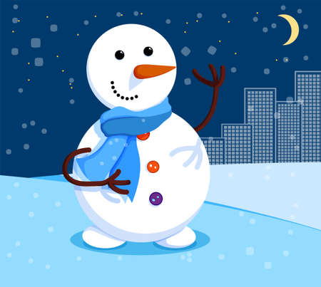 kind snowman stands at night under the moon. Winter cityscape and snowman. Meeting of Christmas and New Year. Winter fun. Cartoon vector 向量圖像