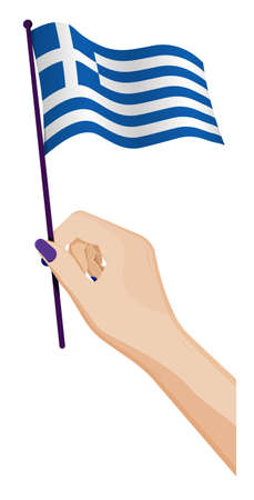 Female hand gently holds small Greece flag. Holiday design element. Cartoon vector on white background Ilustração