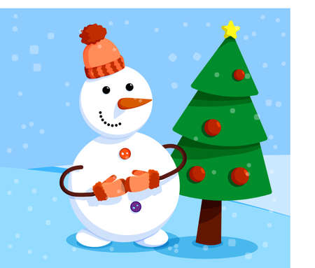cheerful snowman stands in front of elegant New Year tree. Winter landscape and snowman. Meeting of Christmas and New Year. Winter fun. Cartoon vector 向量圖像