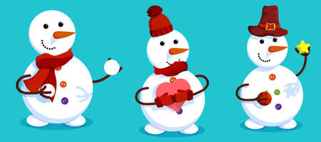 Set of cheerful snowmen in winter clothes. Christmas tree. Winter landscape and snowman. Meeting of Christmas and New Year. Winter fun. Cartoon vector 向量圖像