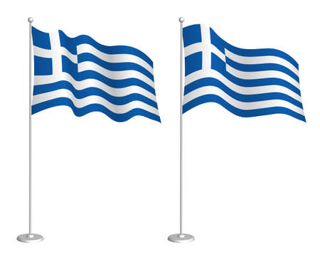 Greece flag on flagpole waving in the wind. Holiday design element. Checkpoint for map symbols. Isolated vector on white background Ilustração