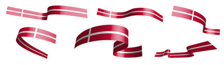 Set of holiday ribbons. Denmark flag waving in wind. Separation into lower and upper layers. Design element. Vector on white background