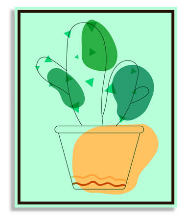 flower prickly cactus in orange indoor pot. Exotic plants in botanical garden and at home. Succulents, plants of the Mexican desert. Abstract painting in frame for decor. Vector