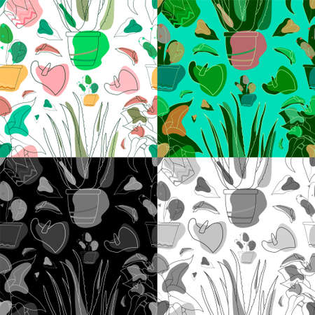Set of seamless patterns with flowers in indoor pots. Floral print for printing ornament on textiles and fabrics. Flowers in pot. Exotic plants Succulents, plants of Mexican desert. Vector