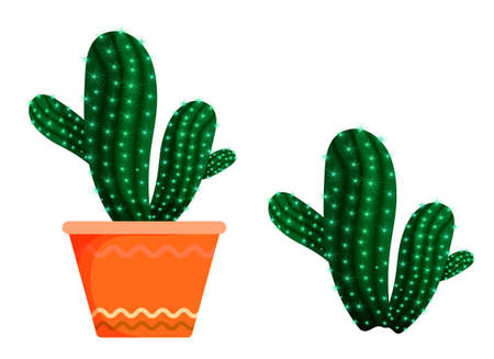 flower prickly cactus in an orange indoor pot. Exotic plants in the botanical garden and at home. Succulents, plants of the Mexican desert. Vector