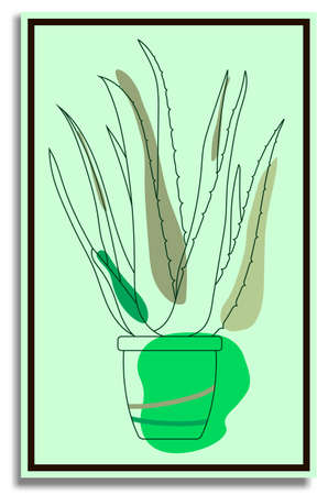 Aloe. Abstract painting in frame for decor. Indoor tropical plant in flower pot. Wide fleshy leaves, succulents, cactus. Healing indoor flowers. Plants in batanic garden. Vector