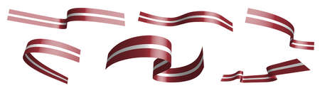 Set of holiday ribbons. flag of Latvia waving in wind. Separation into lower and upper layers. Design element. Vector on white background