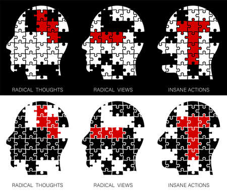 Concept. Human head made of puzzle pieces. Radical views, radical thoughts, terrible deeds. No terrorism. Vector