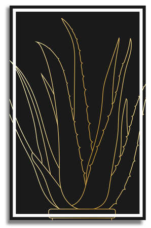 Gold aloe. Abstract painting in frame for decor of interior. Indoor tropical plant in flower pot. Wide fleshy leaves, succulents, cactus. Healing indoor flowers. Plants in batanic garden. Vector