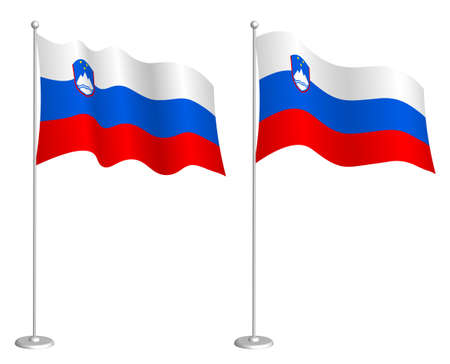 Slovenia flag on flagpole waving in the wind. Holiday design element. Checkpoint for map symbols. Isolated vector on white background