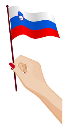 Female hand gently holds small Slovenia flag. Holiday design element. Cartoon vector on white background