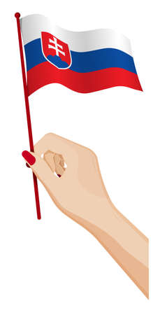 Female hand gently holds small flag of Slovakia. Holiday design element. Cartoon vector on white background