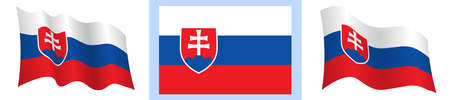flag of Slovakia in static position and in motion, developing in wind in exact colors and sizes, on white background