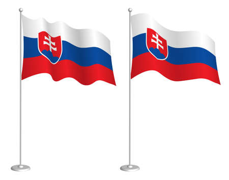 flag of Slovakia on flagpole waving in the wind. Holiday design element. Checkpoint for map symbols. Isolated vector on white background Çizim