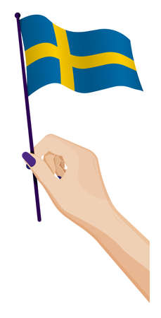 Female hand gently holds small Sweden flag. Holiday design element. Cartoon vector on white background