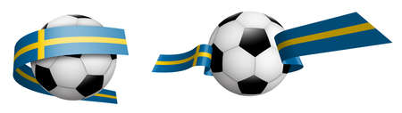 balls for soccer, classic football in ribbons with colors of Sweden flag. Design element for football competitions. Swedish national team. Isolated vector on white background